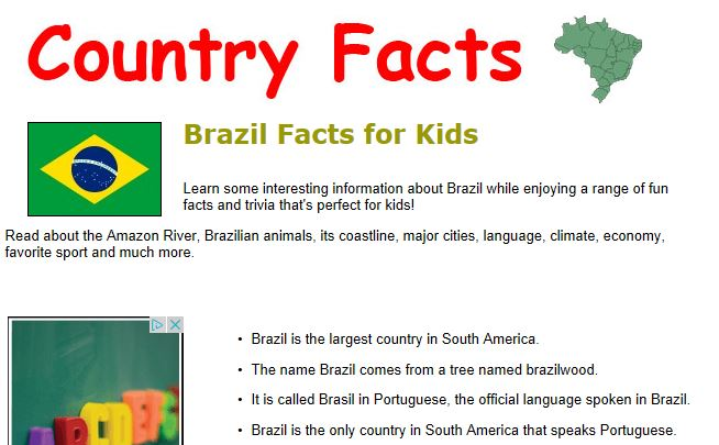 Fun brazil facts content classconnect for Good facts about america