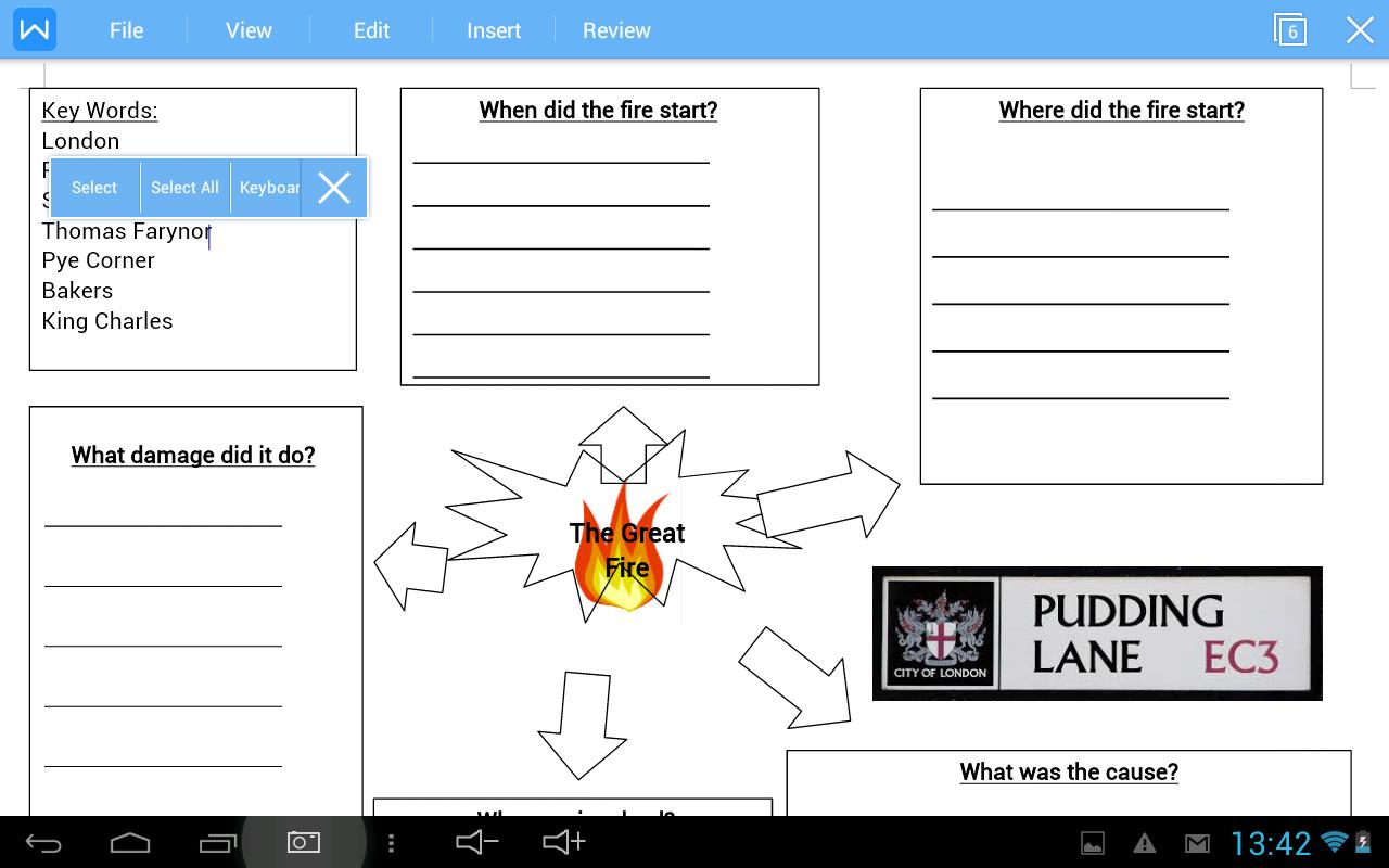 Lane Fire Map.Fire Of London Mind Map Content Classconnect